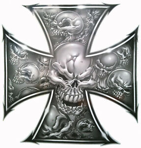 Skull Cross 150mm for chopper, trike, motorbike, moto x, helmet, off road 4x4