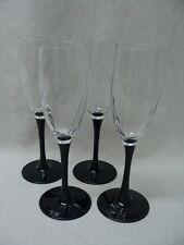 Cristal D'arques-Durand Luminarc Astra-Black Pattern, 4 Champagne Flutes Glasses