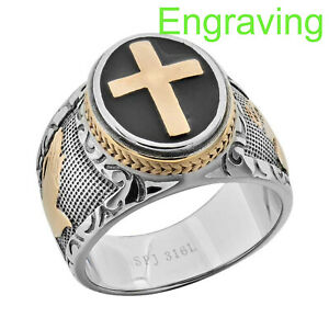 Stainless Steel Men Christian Cathartic Holy Cross Religious Lord Prayer Ring