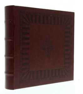 "Eco Leather Brown Slip In Photo Album Holds 200 6"" x 4"" Photos Memo Area Gift"