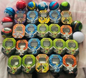 Pokemon Huge Lot Of Empty Tins And Balls Job Lot