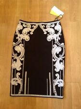 FANTASTIC KAREN MILLEN BLACK EMBROIDERED PENCIL SKIRT UK SIZE 10(LIKE 8) BNWT