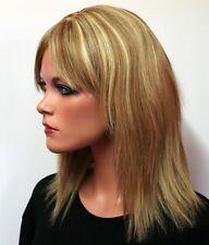 ECHTHAARPERÜCKE Damen Perücke glatt blond Mix Chemo Haarausfall Echthaar wig E14