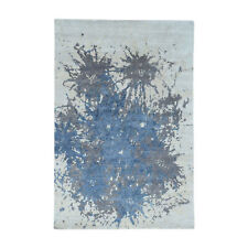 6'x9' Hand-Knotted 100 Percent Wool Splash Abstract Design Carpet R32576