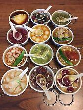 Asian Noodles Plastic Chinese Food Dessert Blue Pattern Porcelain Bowl Keychain