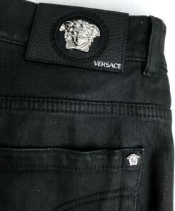 VERSACE Black Jeans Trousers Pants SZ35 Auth New