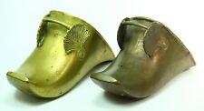 ! Antique 1700's Dutch Cast Brass Pair of Horse Stirrups Boot Protectors