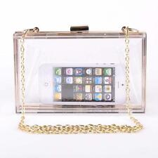 Ladies Transparent Acrylic Perspex Clutch Purse Chain Evening Party Handbag Bag