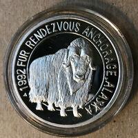 1992 Anchorage Mint, Alaska Ox Medallion Silver Coin, w/ Box