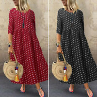 ZANZEA 10-24 Women 3/4 Sleeve Polka Dot Dress Abaya Kaftan Ladies Maxi Sundress