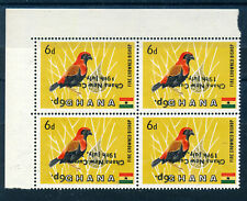 More details for ghana 1965 definitives sg385a 6p on 6d (bird) surcharge inverted block of 4 mnh