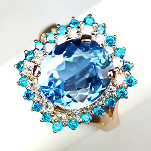 Topaz Blue Oval Ring Size 7.75 Jewelry 5.6Ct. 925 Sterling Silver Rose Gold Gift