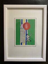 Cricket Print - Batsman, Cricket Ball And Pads.  White Frame. Fabric Print. VGC