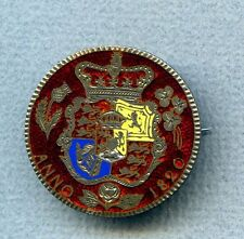 Great Britain ½ C 1820 George IIII enamelled pin couple chips of color missing