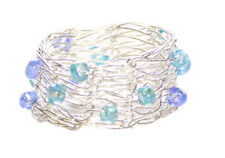 Charismatic Aqua/sky Blue Beads & Mesh Wire Structured Ring(Zx50/124)