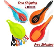 ✅ 2 pcs Silicone Spoon Rest Holder Heat Resistant Kitchen Utensil Tool
