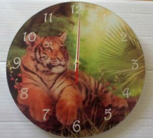 Tiger Clock-Cindy Grundsten Boxed Wild Animals analogue gift Tigers