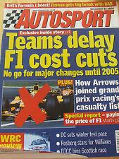AUTOCAR MAGAZINE DEC 2002 FIRMAN BAR ARROWS CASUALTY DC WINTER TEST PACE ROSBERG