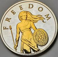 2014 SILVER SHIELD STANDING FREEDOM 24K GOLD GILDED 1OZ SILVER ROUND #11