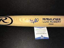Luis Robert Chicago White Sox Autographed Signed Engraved Bat BECKETT COA Blonde