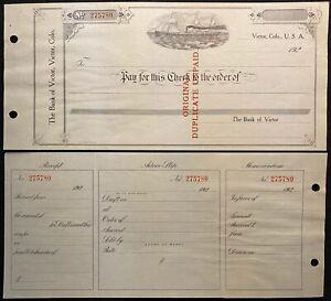 1920c {{LARGE}} ~THE BANK OF VICTOR~ COLORADO BANK CHECK+STUB+VIGNETTE!  SCARCE!