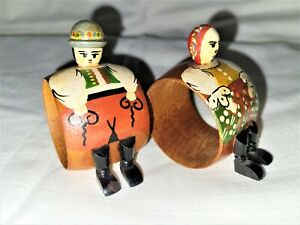 Pair of Souvenir Wooden Hand Painted Napkin Rings Marked Podebrady Lazne