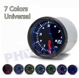 Universal 2 Inch 52mm Tachometer Tach RPM Gauge Digital 7 Color LED Display Car