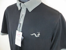 BNWT New Woodworm Polo Shirt Collared Golf Jersey T Black Skjorte Small S