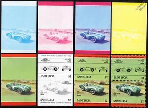 1954 ASTON MARTIN DB3S Car Stamps (1984 St Lucia Progressive Proofs / Auto 100)