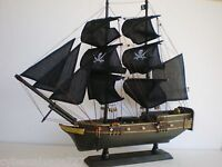 """Wooden Weathered Model Pirate Ship Boat Sailing Vessel 20"""" Fully Assembled"""