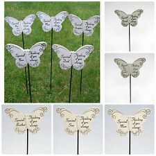 BUTTERFLY MEMORIAL STICK, GRAVE SIDE TRIBUTE SPIKE ,REMEMBRANCE,ASST RELATIVES