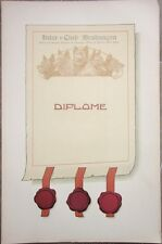 Brabancon DOG/Kennel Club 1930s Poster/Diploma - Brussels, Belgium