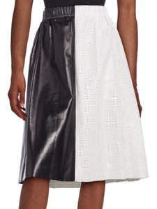 NWT Proenza Schouler Colorblock Perforated Leather Skirt 6 MSRP: $2,950