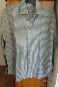 """Fawn with Grey Striped Shirt by """"Johnston & Murphy"""" size L"""