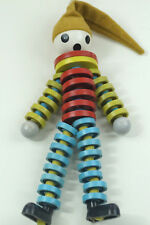 Vintage Czech Crib Toy '70s Plastic Bead Clown Figure Marionette Harlequin Doll