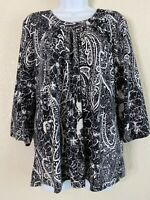 Cathy Daniels Womens Size L Black & White Floral Paisley Blouse 3/4  Sleeve