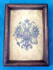Antique Russian Framed Double Headed Eagle Of Empire, Tsar Nicholas II Romanov