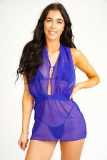 Blue Micro Mini Dress See Thru Backless Halterneck Summer Sheer Party Dresses