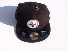 Steelers Pittsburgh NFL Cap Hat Black Fitted 7 1/8 New Era NWT Football 0399916