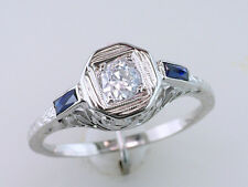 Art Deco 1/2ct Diamond Sapphire 18k Vintage Antique Engagement Ring