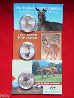 AUSTRALIA. 1996, 1997, 1998  $1 Kangaroo -  1oz  Silver Coins......UNC  in Cards