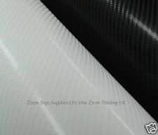 4D CARBON FIBRE VINYL WRAP BLACK OR WHITE AIR RELEASE STICKY BACK PLASTIC
