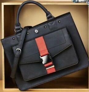 Kenzo Takada Ume Structured Black Handbag - Red Belt Detail - BNIP - FREE P&P
