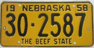 NEBRASKA 1958 THE BEEF STATE licence/number plate US/United States/USA/American