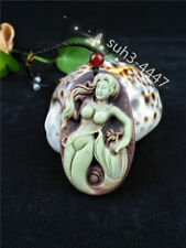 Chinese Natural Jade Mermaid Pendant Necklace Charm Jewelry Fashion Amulet