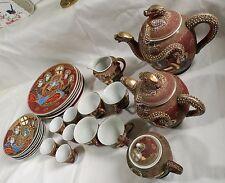 Hand Painted Japanese Kutani Lithophane Geisha Girl Porcelain teapot set 25pcs