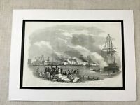 1853 Print Queen Victoria Navy Royal Salute Kingstown Ireland Antique Original