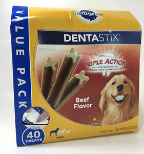 PEDIGREE DENTASTIX Large Dog Treats Beef Flavor Dental Bones, 2.08 lb. 40 Treats