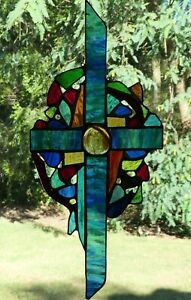 CELTIC CROSS Authentic & Real Multi Coloured Stained Glass SUNCATCHER Australian