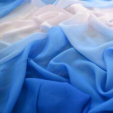 2Y Blue White Blue Gradient Color Chiffon Fabrics Shade Chiffon Dress material